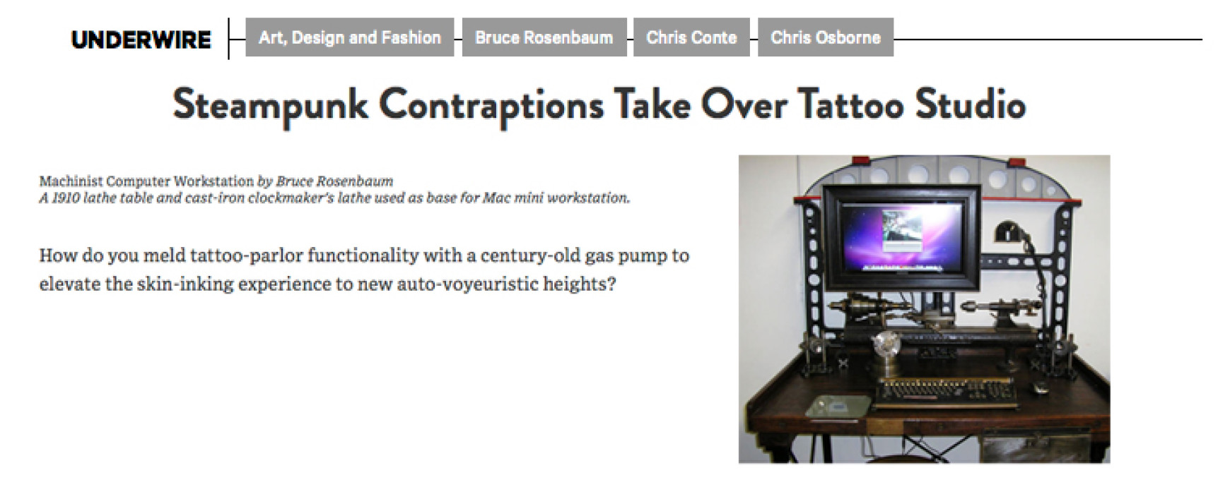 Wired Magazine: Steampunk contraptions take over tattoo studio