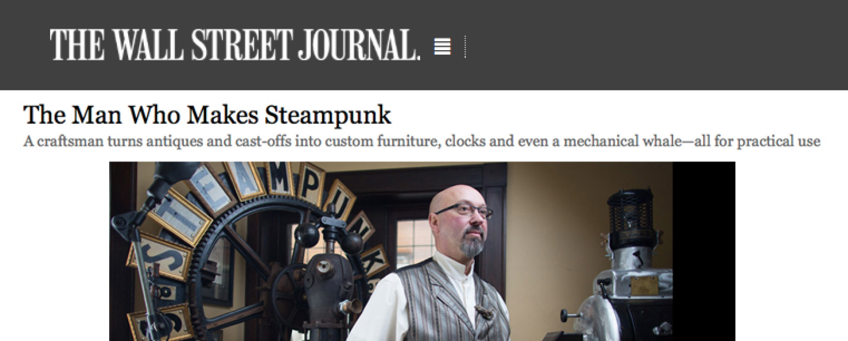 WSJ: The Man Who Makes Steampunk